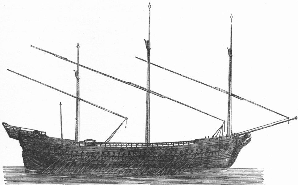 Associate Product VENICE. Model of galleys Venetian fleet 1880 old antique vintage print picture