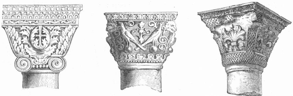 Associate Product VENICE. Capitals-Atrium, St Mark's 1880 old antique vintage print picture