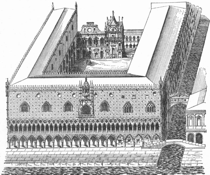 Associate Product VENICE. Bird's-eye Ducal Palace 1880 old antique vintage print picture