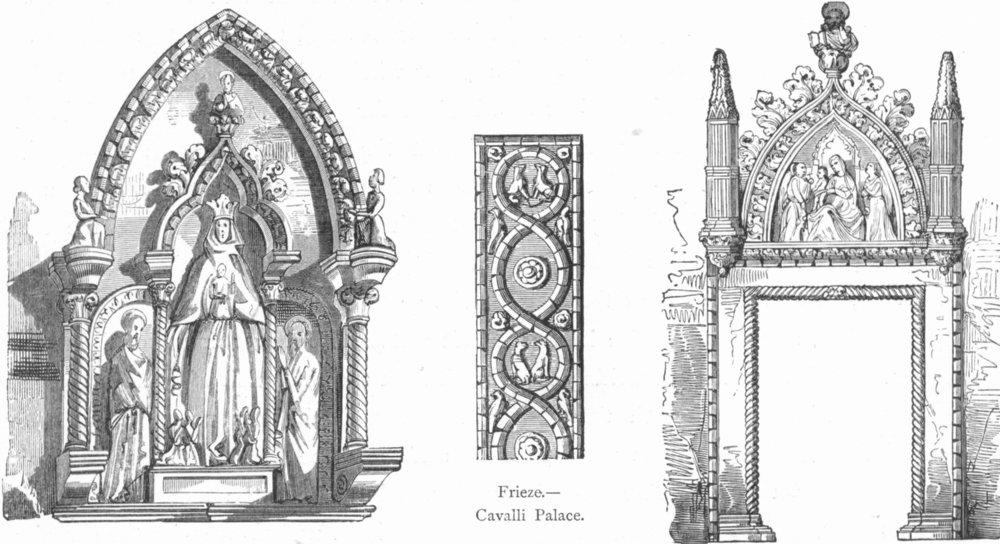 Associate Product VENICE. Doors. Scuola Misericordia, Frari; Cavalli 1880 old antique print