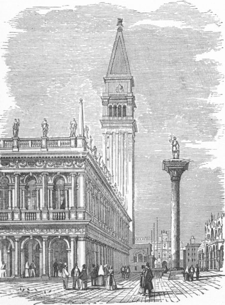 Associate Product VENICE. Libreria Vecchia, San Sansovino 1880 old antique vintage print picture