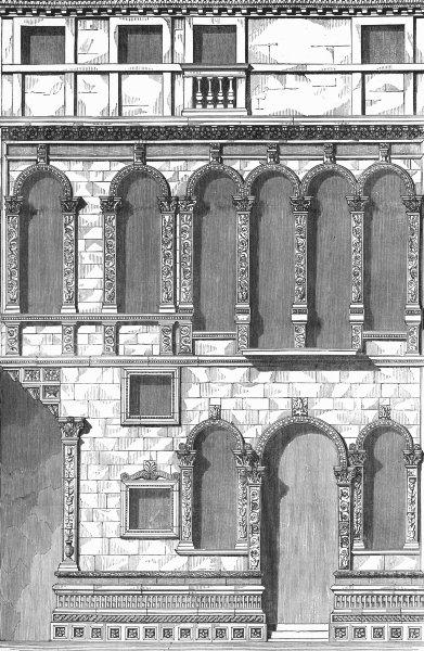 Associate Product VENICE. Casa Guisetti, Strada Della Fava-Renaissance 1880 old antique print