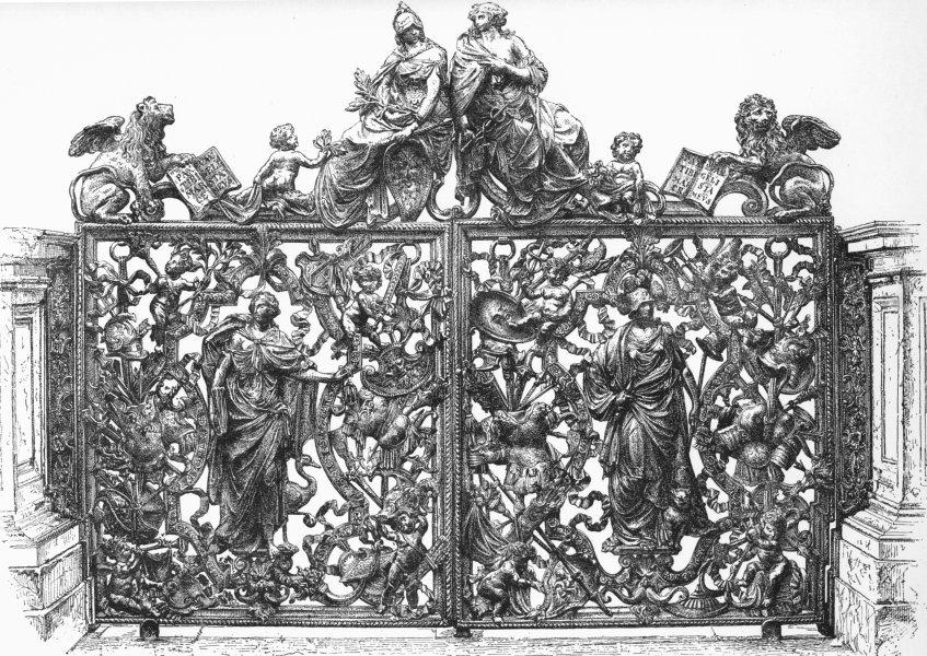 VENICE. Bronze gates of Loggetta-Antonio Gai 1880 old antique print picture