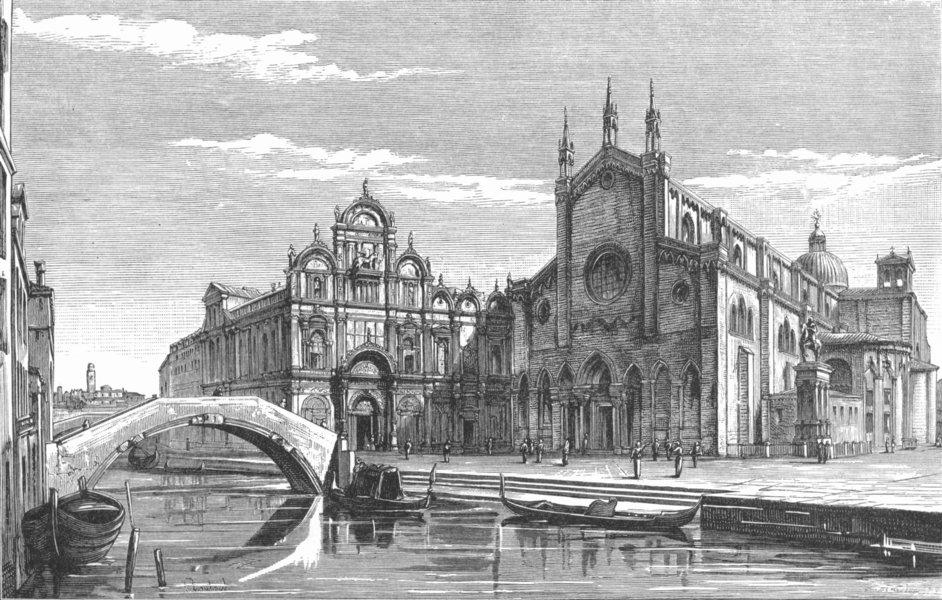 Associate Product SAN GIOVANNI E PAOLO. Scuola Di Rocco; Colleoni 1880 old antique print picture
