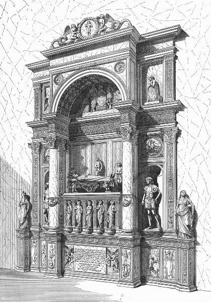 Associate Product VENICE. Doge Vendramin tomb, San Giovanni-Leopardi 1880 old antique print