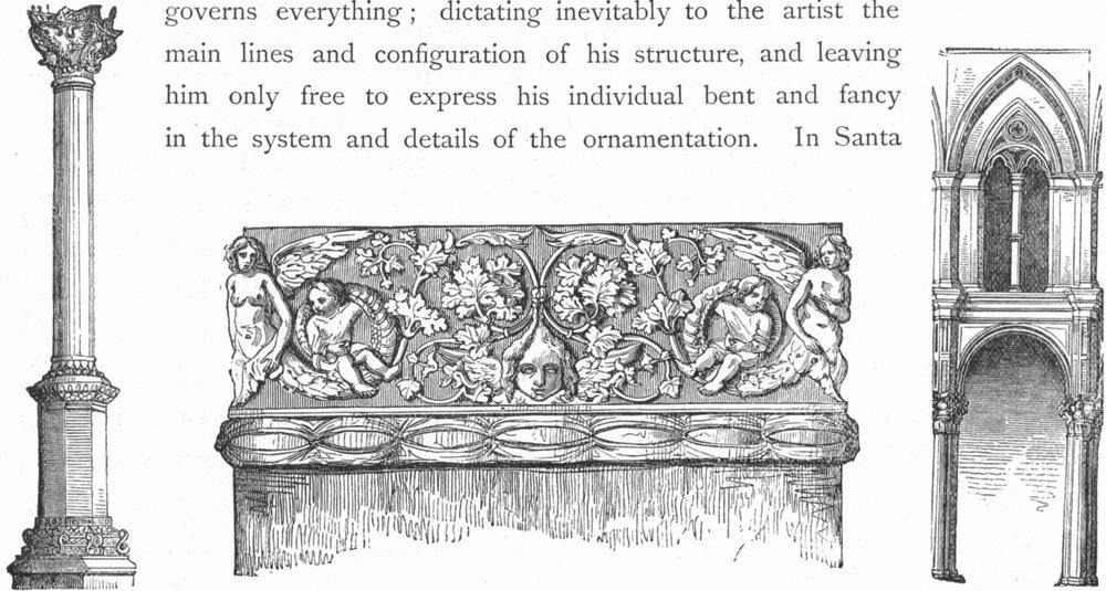 Associate Product VENICE. Column San Zaccaria; Sta Maria dei Miracoli 1880 old antique print