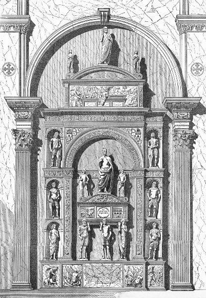 Associate Product VENICE. Doge Pietro Mocenigo tomb-Lombardi 1880 old antique print picture