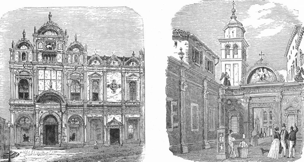 Associate Product VENICE. Scuola San Marco; Giacomo Evangelista 1880 old antique print picture