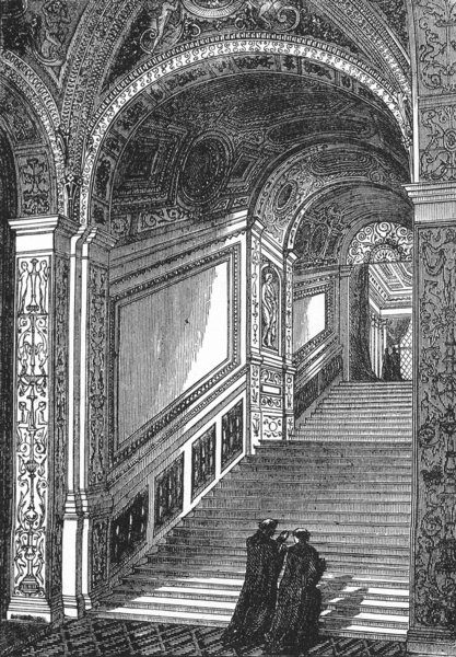 VENICE. Scala d' Oro, Ducal Palace-Vittoria 1880 old antique print picture