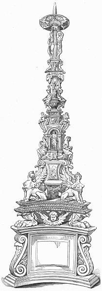 Associate Product VENICE. Candelabra in bronze-Sta Maria Maggiore 1880 old antique print picture