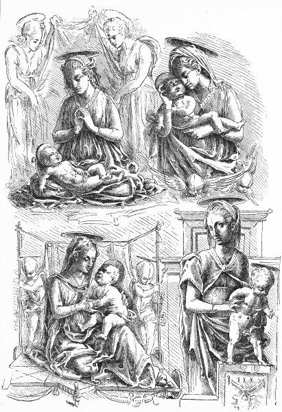 VENICE. Madonnas-Mantegna, Padua 1880 old antique vintage print picture
