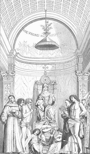 Associate Product VENICE. Madonna & 6 Saints-Giovanni Bellini-Academy 1880 old antique print