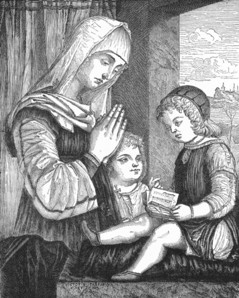 Associate Product VENICE. Virgin with Jesus & St John-Carpaccio 1880 old antique print picture