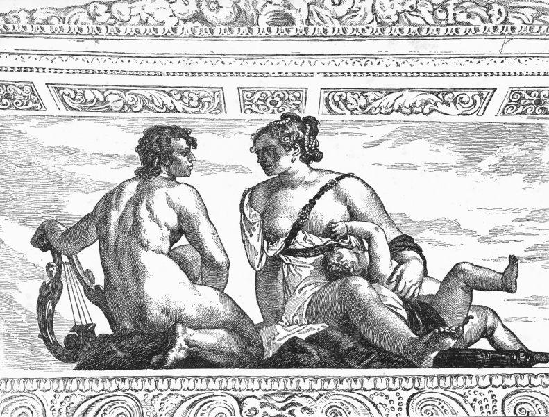 Associate Product VENICE. Apollo, Venus-Veronese(Fresco, Villa Barbaro) 1880 old antique print