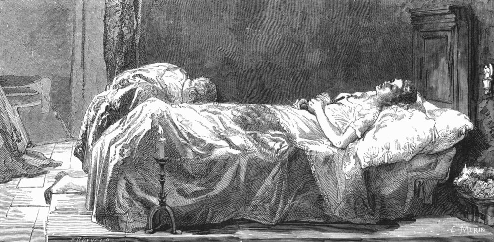 Associate Product VENICE. Tintoretto, his daughter's death-bed; Morelli 1880 old antique print