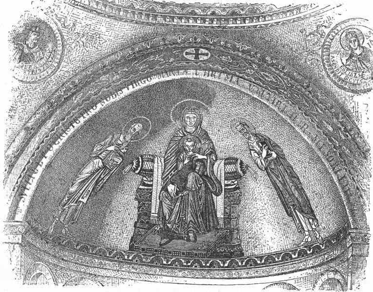 Associate Product VENICE. Mosaic of 11th century, Atrium St Mark's 1880 old antique print