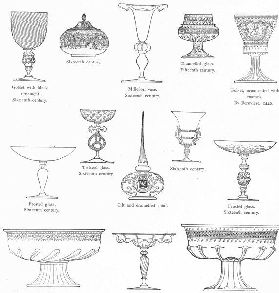Associate Product VENICE. Goblet, vase. Murano, Millefiori, Beroviero 1880 old antique print