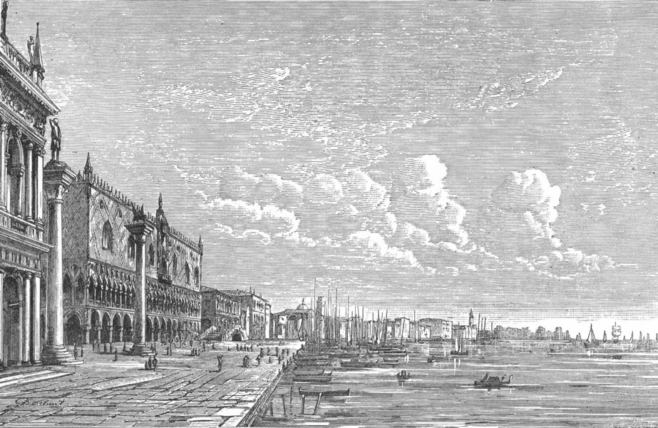 Associate Product VENICE. The Ducal Palace and the Riva 1880 old antique vintage print picture