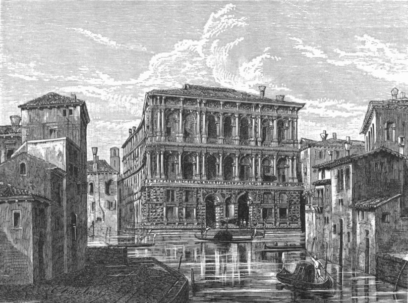 Associate Product VENICE. The Pesaro Palace-Grand Canal 1880 old antique vintage print picture