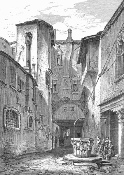 Associate Product VENICE. Courtyard of Palazzo dei Mori 1880 old antique vintage print picture