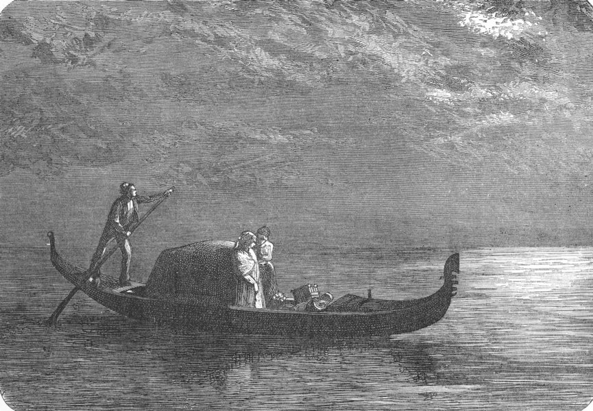 Associate Product VENICE. Moonlight on the Lagoon 1880 old antique vintage print picture