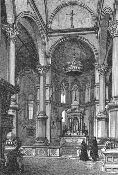 VENICE. Interior of San Zaccaria 1880 old antique vintage print picture
