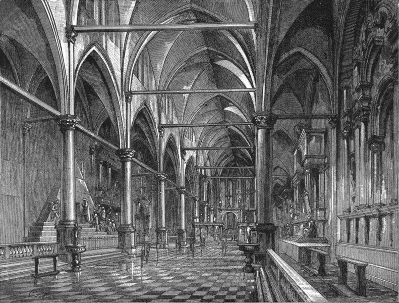 Associate Product VENICE. Sta Maria Gloriosa dei Frari 1880 old antique vintage print picture