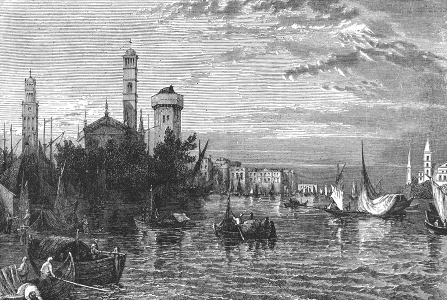Associate Product VENICE. View in the Island of Burano 1880 old antique vintage print picture