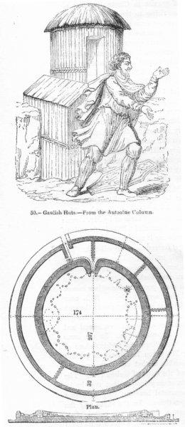 Associate Product CHUN CASTLE. Gaulish huts Antonine column; plan of  1845 old antique print