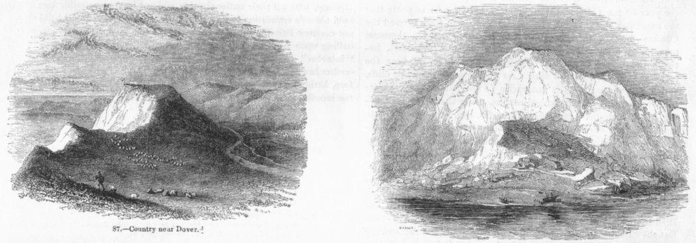 Associate Product KENT. Country Dover; Cliffs 1845 old antique vintage print picture