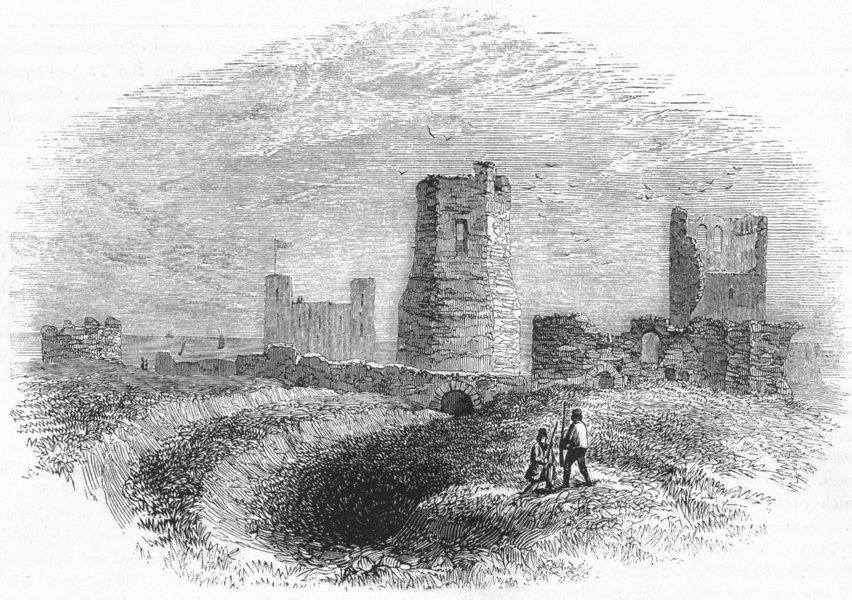 Associate Product DOVER CASTLE. Roman Lighthouse, Church & Trench 1845 old antique print picture