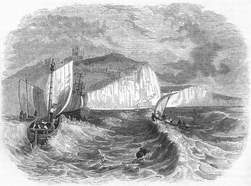 KENT. Dover Cliffs 1845 old antique vintage print picture