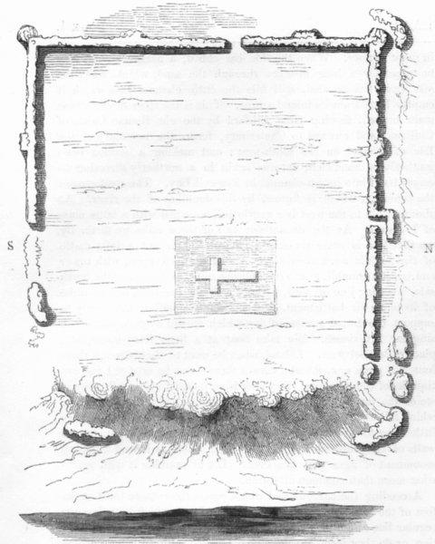 Associate Product KENT. Plan of Richborough 1845 old antique vintage print picture