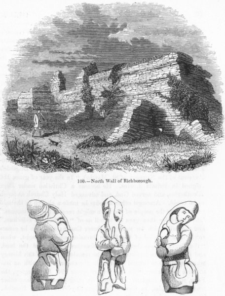Associate Product KENT. North Wall of Richborough; Bronze, found  1845 old antique print picture
