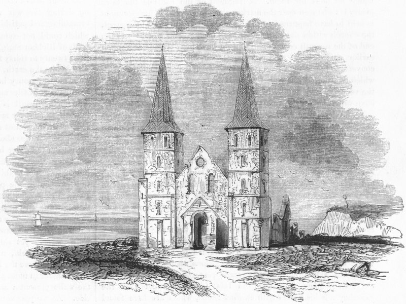 Associate Product KENT. Ruins, church Reculver 1845 old antique vintage print picture