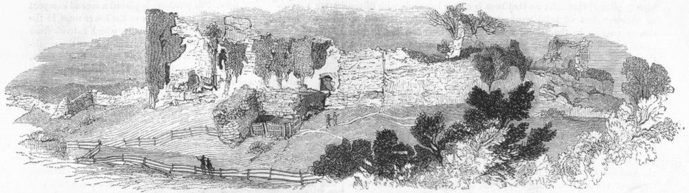 SUSSEX. Ruins, Pevensey Castle 1845 old antique vintage print picture