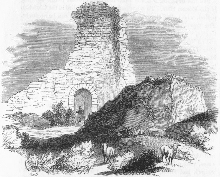 Associate Product SUSSEX. Supposed Saxon keep, Pevensey 1845 old antique vintage print picture