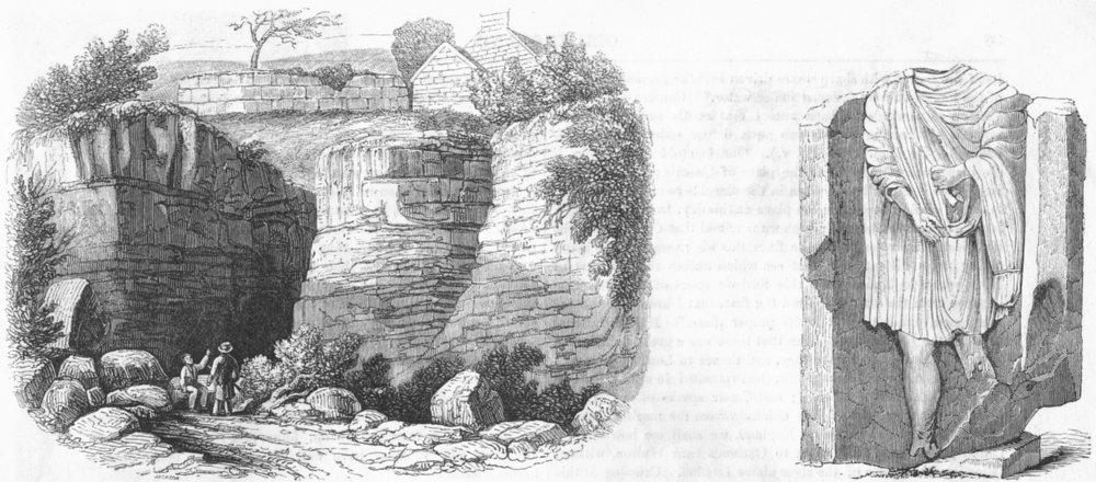 Associate Product NEWCASTLE, TYNE. Severus wall, Denton Dean; Roman 1845 old antique print