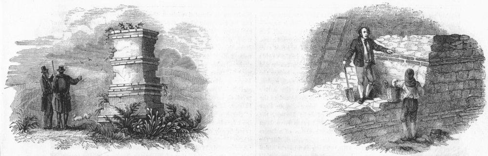 Associate Product ROMAN WALLS. Verulam, St Alban's; Minories, London 1845 old antique print