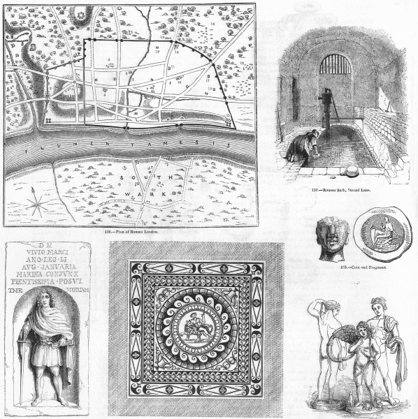 Associate Product ROMAN LONDON. Plan & remains 1845 old antique vintage print picture