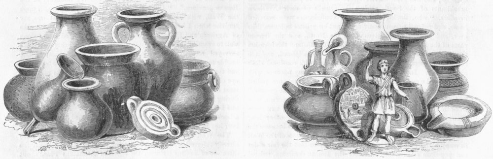 Associate Product VASES. Found after Gt fire; Roman, St Paul's Cross 1845 old antique print
