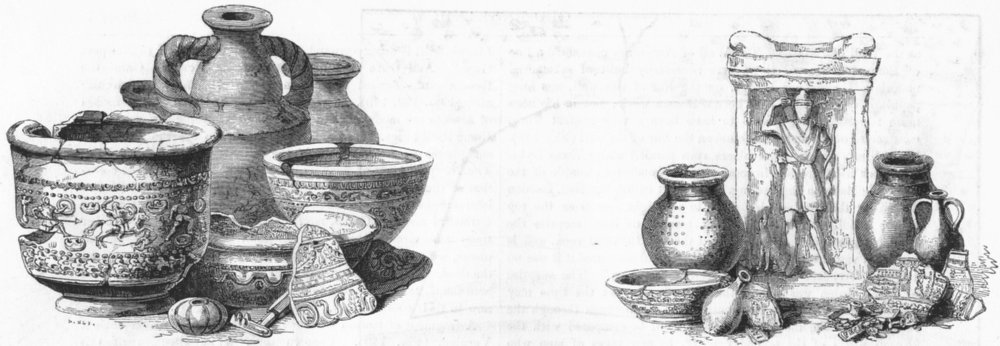 Associate Product LOMBARD ST. Urn, vase, key, bead, pottery, found 1785 1845 old antique print