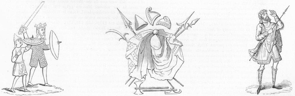 Associate Product MILITARIA. Ringed mail; Saxon mantle, weapon; soldier 1845 antique print