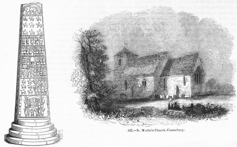 Associate Product CANTERBURY. St Martin's Church; Sueno Pillar, Forres;  1845 old antique print