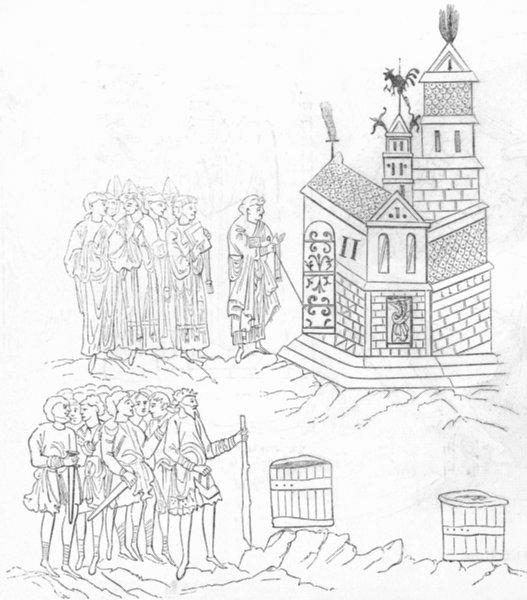 Associate Product CHURCHES. Consecration of Saxon Church 1845 old antique vintage print picture