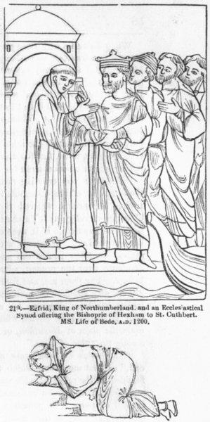 Associate Product NORTHUMB. King Egfrid; Synod, Hexham, Cuthbert; Dunstan 1845 old antique print