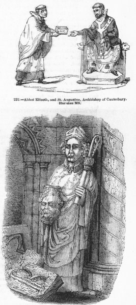 Associate Product CLERGY. Abbot Elfnoth, St Augustine, Cuthbert(Durham) 1845 old antique print