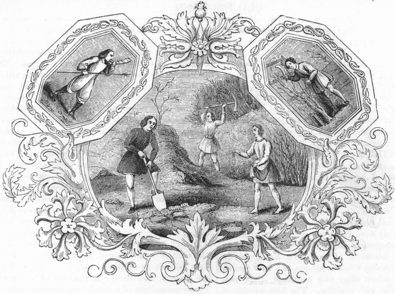 Associate Product TRIBAL. Saxon Emblems of month March 1845 old antique vintage print picture