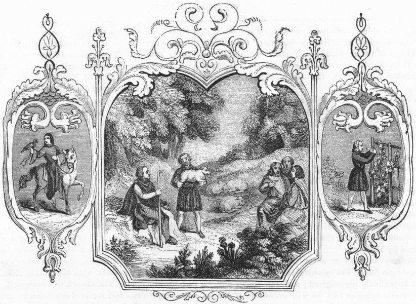 TRIBAL. Saxon Emblems of month 1845 old antique vintage print picture