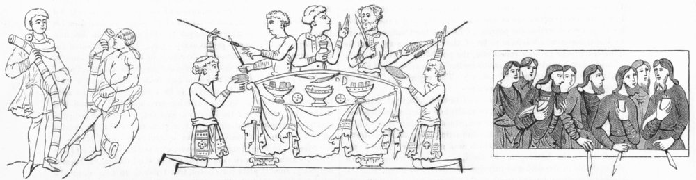 SOCIETY. Trombone; Dinner party; Cow's Horns cups 1845 old antique print